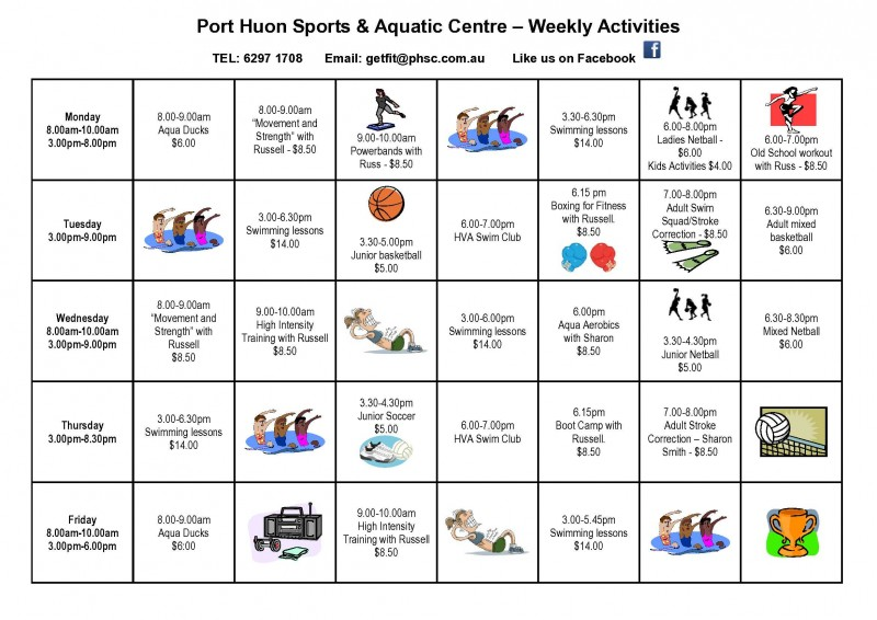 PHSC Weekly Activities