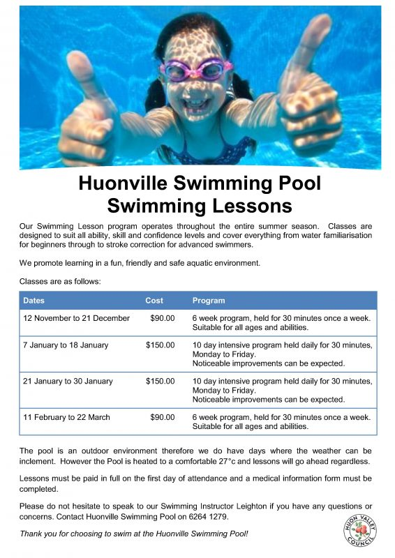 Huonville Swimming Pool Huon Valley Council Huon Valley