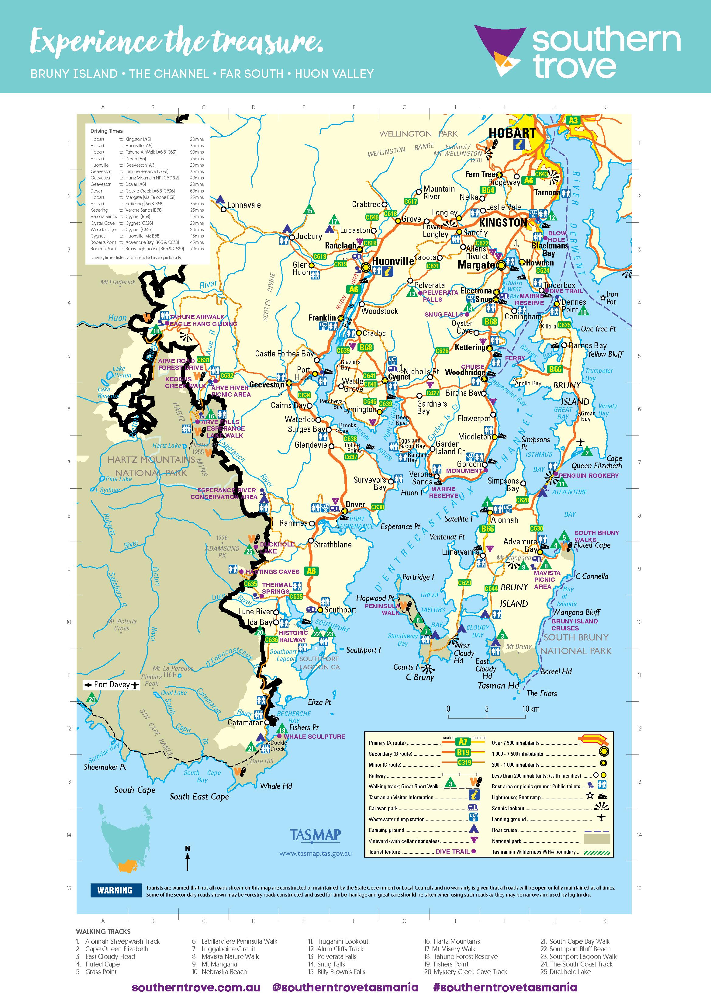 huon trail map